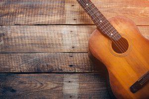 Wooden guitar.